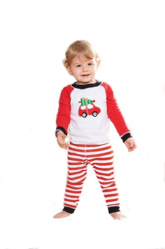Boys Christmas Pajama Set Mud Pie Red Car Boys Holiday Lounge Set 3T front-543845