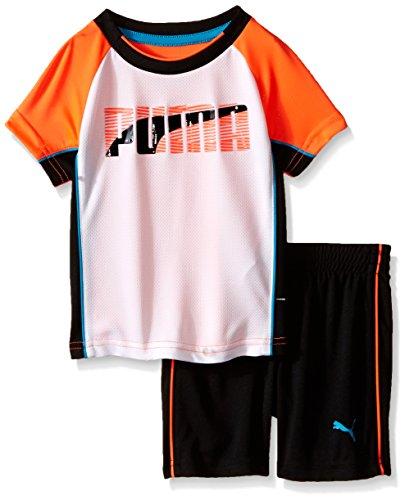 PUMA Baby Stripe Short Set, Orange, 18 Months