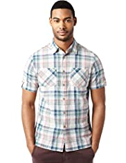 North Coast Pure Cotton Slub Checked Shirt
