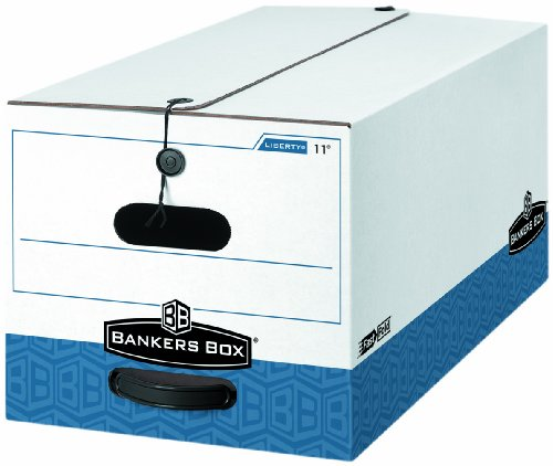 Banker's Box Liberty Storage Boxes, String and Button Tie, Letter , 10 x 12 x 24 Inches, White/Blue, 4 Per Carton (0001103)