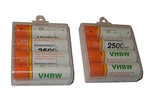 vhbw 8 x AA, Mignon, HR6, LR6 Akku 2500mAh für Swisscom Mobilteil E304 Comfort, E104 Classic
