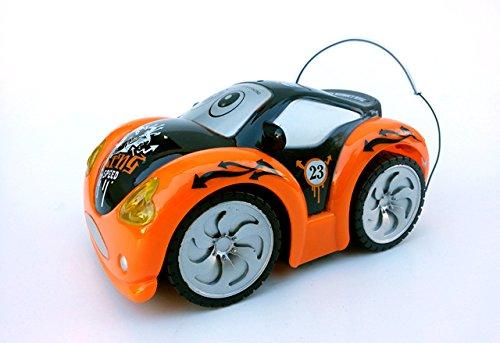 Brigamo 405 – Ferngesteuertes Auto, Fernlenkflitzer inkl. Fernsteuerung, Crazy Car Junior, Rot, inkl. LED Scheinwerfer, sehr robustes RC Auto für kleine Hobby Rennfahrer, KOMPLETT INKL. ALLEN BATTERIEN ! als Geschenk