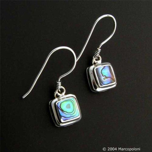 Paua (Abalone) Shell Square Hook Earrings