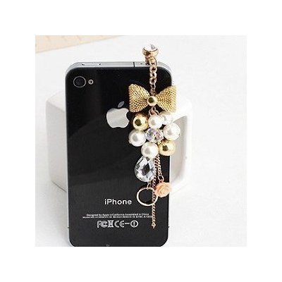 Earphone Jack Accessory Gold Plated Pink Flowers Golden Bow Crystal Golden Beads Pearl / Dust Plug / Htc / Ear Jack For Iphone 4 4S / Samsung / Ipad / Ipod Touch / Other 3.5Mm Ear Jack