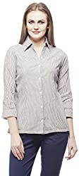 Peptrends Women's Regular Fit Shirt (SHI15181BK_M, Black, M)