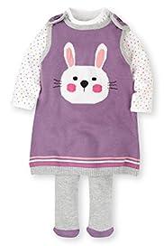3 Piece Cotton Rich Pinafore, Bodysuit & Tights Outfit [T78-5901D-Z]