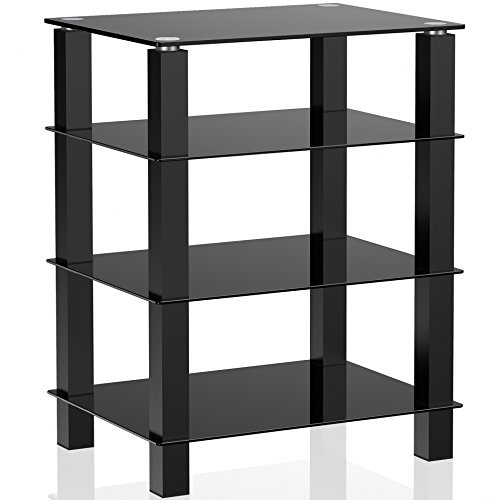 Fitueyes 4-tier Media Component Stand Audio Cabinet with Glass Shelf for /Apple Tv/xbox One/ps4 AS406002GB (Xbox Game Storage Tower compare prices)