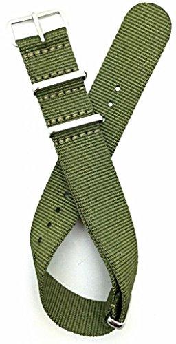 20Mm Nato Style, High Quality Nylon Fabric Watch Strap - Green
