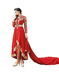 Tantalizing Fire Red Georgette Embroidered Pant Style Anarkali Suit