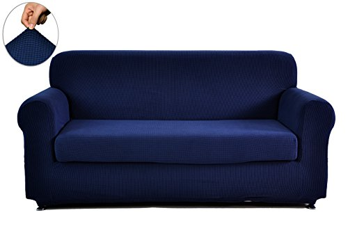 Chunyi 2 piece jacquard polyester spandex sofa slipcover loveseat dark blue furniture sofas Blue loveseat slipcover