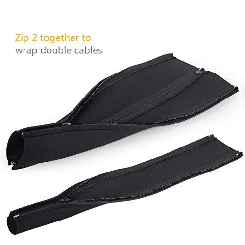 kootek five 20 inch zipper cable management neoprene cord cover sleeve wire hider concealer. Black Bedroom Furniture Sets. Home Design Ideas