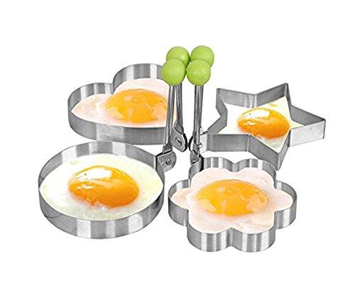Youbedo Fried Egg Pancake Molds Stainless Steel Eggs Pan Mold 4 pcs