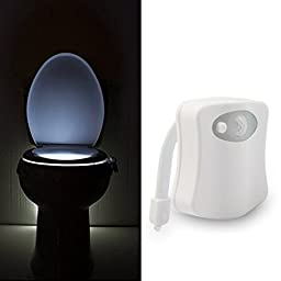 ANART® Motion Activated Sensor Toilet Night Light, 8 color-cycle, Pee Happy!