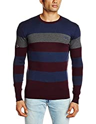 Superdry Men's Cotton Blend Sweater (5054126965502_M61LY007_Small_Plum And Navy Stripe)