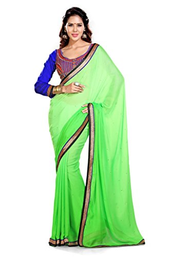 Sourbh Saree Green Satin Chiffon Best Sarees for Women Party Wear