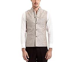Yell Men's Regular Fit Nehru Jacket (YLWC/907-BROWN-S_Brown_S)