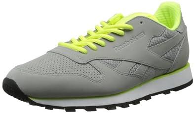 Reebok Men's CL Leather Tech Classic Shoe,Tin Grey/Neon Yellow/White/Black,8.5 M US