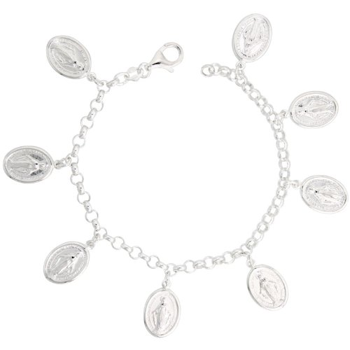 Sterling Silver Mary Immaculate Conception Charm Bracelet, 3/4