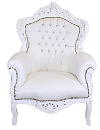 Casa Padrino Baroque Armchair 'King' White / white leather look with bling bling diamante