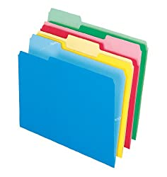 Pendaflex CutLess File Folders, 1/3 Cut, Top Tab, Letter, Assorted Colors, 100 Per Box,( 48440)
