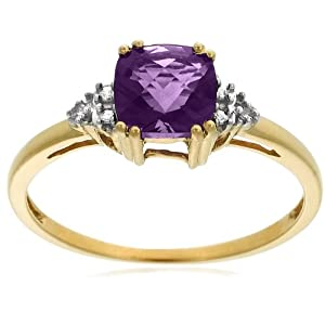 10k Yellow Gold, February Birthstone, Amethyst and Diamond Ring, Size 6