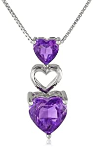 """Sterling Silver Amethyst Heart Pendant Necklace, 18"""" by The Aaron Group - HK DI"""