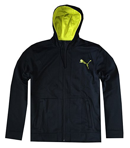 PUMA Men Full Zip Fleece Logo Hoodie Jacket (XL, Black/sulphur spring)