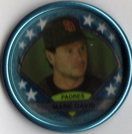 1990 Topps Baseball Blue Coin #3 Mark Davis - 1