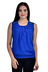 Femninora Blue Color Casual Top With Shoulder Net