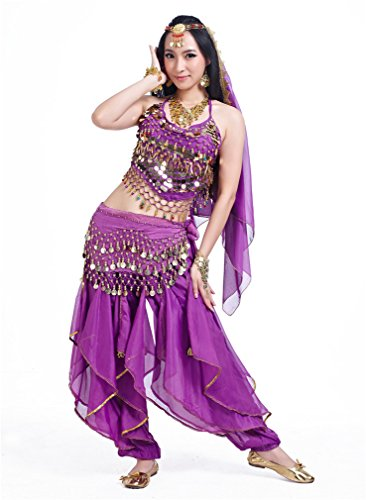 Dreamspell Professional Belly Dancer Costume Five Pieces Dancing Indian Style(5 Items)