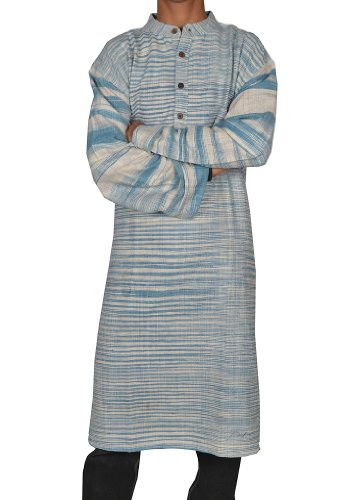 Handmade Casual Wear Indian Khadi Long Mens Kurta Fabric For Winter & Summers Size 5XL