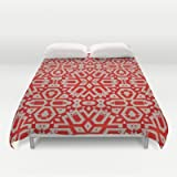 Red & Grey Geometric Duvet Cover by Camille