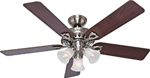 "Hunter 22438, Sontera Brushed Nickel 52"" Ceiling Fan with Light & Remote Control"