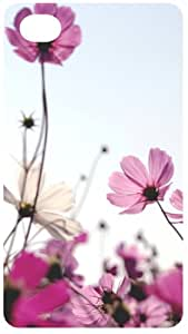 Cosmos Pink Flowers Silver Back Cover Bling Case for Apple iPhone 4 / 4S