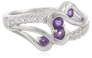 Sterling Silver Round Amethyst and Created White Sapphire Ring, Size 6