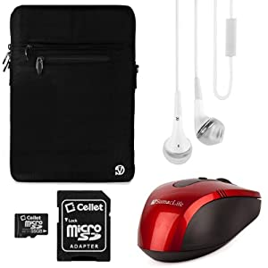 Vangoddy Hydei Carrying Bag Case (Black) for Sony VAIO S / Sony VAIO Pro 13 Touch Ultrabook / Sony VAIO 13 Touch Ultrabook / Sony VAIO Duo 13 Convertible Touch Ultrabook / Sony VAIO T Series 13 Ultrabook 13.3 inch Laptops + White VG Stereo Headphones with Mic + Red SumacLife Wireless Mouse + 16GB Memory Card