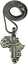 """Patterned Africa Pendant w/ 2mm 24"""" Box Chain Necklace In Hematite-Tone"""