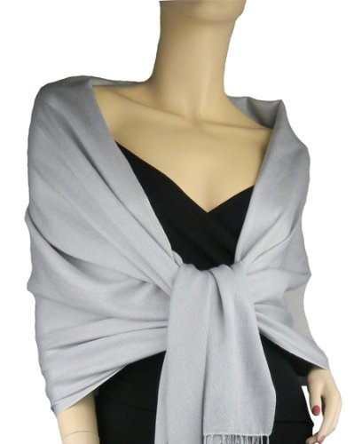 Pashmina/Silk Wrap Silver Grey