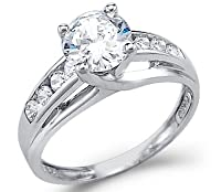 Solid 14k White Gold Solitaire Round CZ Cubic Zirconia Engagement Ring 1.5ct by Sonia Jewels