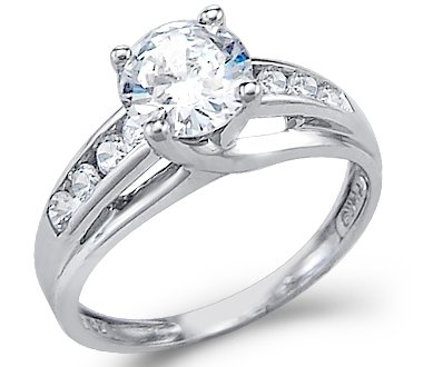 Size- 8 - Solid 14k White Gold Solitaire Round CZ Cubic Zirconia Engagement Ring 1.5ct