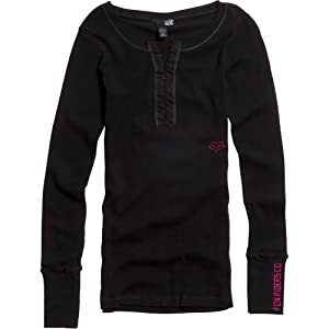 Fox Racing Shine On Henley Girls Long-Sleeve Casual Wear Shirt - Black / Medium