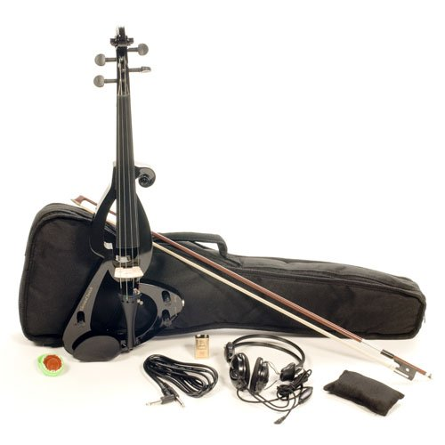 Austin Bazaar Full Size 4/4 Electric Violin Set with Case and Accessories - Black