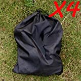 Cosmos ® 4 x Nylon Black Color Shoe Bag with drawstring for travel/carrying + Cosmos Cable Tie