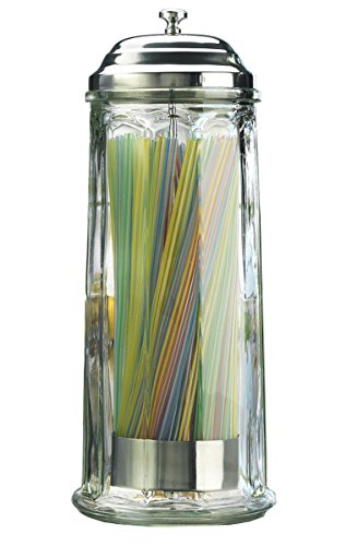 High Quality Glass Straw Dispenser with Chrome Base and Cover