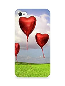 Amez designer printed 3d premium high quality back case cover for Apple iPhone 4s (Love Balloons)
