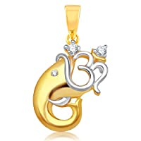 VK Jewels Om Vakratund gold and Rhodium plated Pendant for Women - P1128G [VKP1128G]
