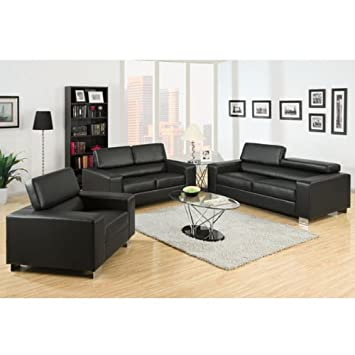 Makri Contemporary Style Gray Bonded Leather 3-Piece Sofa Set