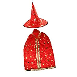 Magic Witches Cosplay Cloak Halloween Shiny Costume Cape Fairy Tale Outfits - red