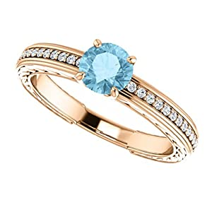 14K Rose Gold Round Cut Blue and White Diamond Engagement Ring