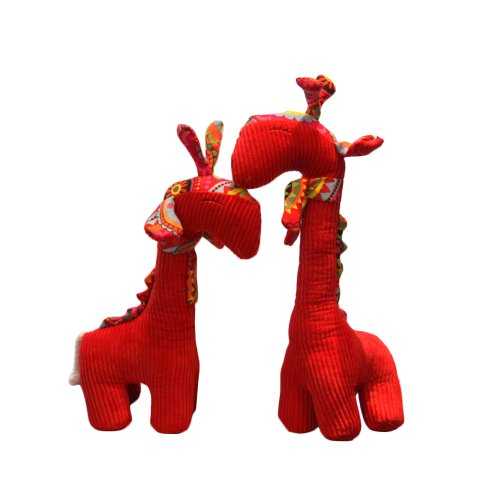 Pair Of Red Giraffes Stuffed Animals 45Cm And 52Cm Home Decorations front-1028256